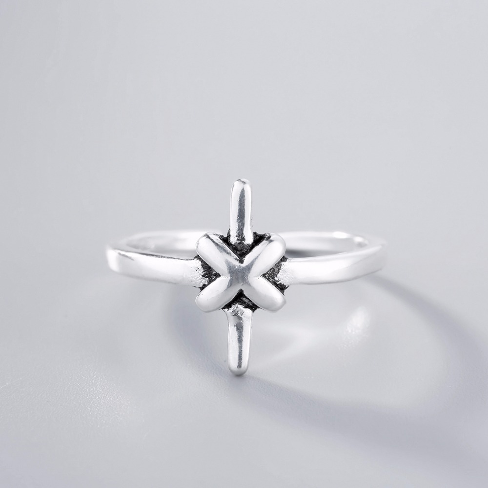 Kinitial 925 Thai Silver Cross Knot Open Cocktail Finger Rings for Woman Vintage Knots Ring Fashion Statement Jewelry
