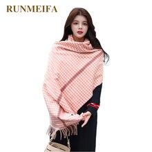 Bufanda de Cachemira simulada RUNMEIFA para Mujer chal de tela escocesa  dulce Foulard Mujer elegante Echarpe Mujer Bufanda Envío. ed060c27ec0