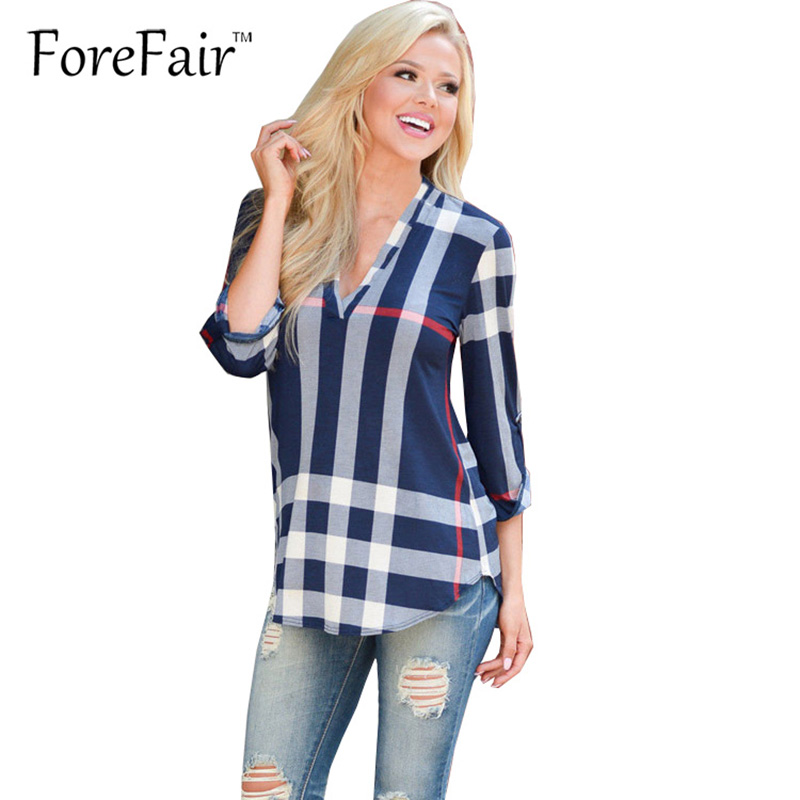 Forefair  Trendy Fashion Plaid Imprimir Mujeres Tops Casual Loosse Recto Blusa d