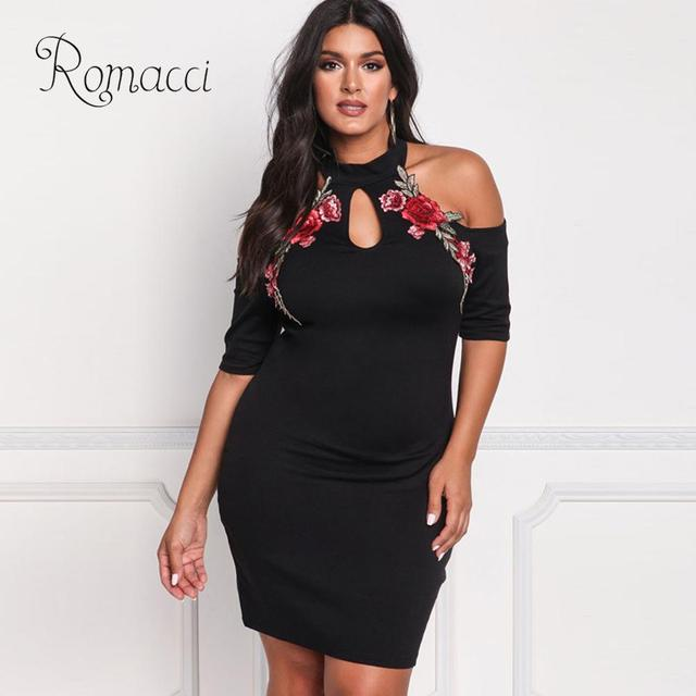 01a813dd3e696 Romacci Floral Embroidery Dress Female Solid Cold Shoulder Dress Women  Hollow Out Big Large Size Casual