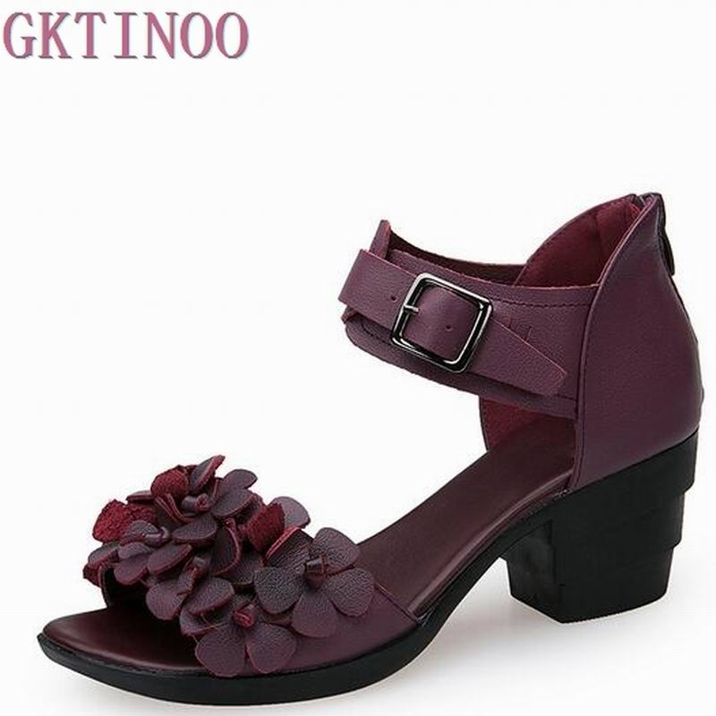 2017 Ethnic Summer Genuine Leather Women Sandals Handmade Flower Peep Toe Thick with High Heel Shoes 2017 summer women s wedges sandals closed toe flower ethnic style handmade genuine leather personalized women slippers shoes