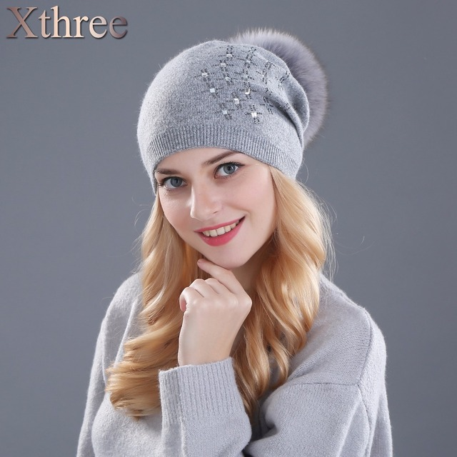 Xthree women's winter hat Rabbit fur wool knitted hat Shining Rhinestone the female of the mink hats for women beanies