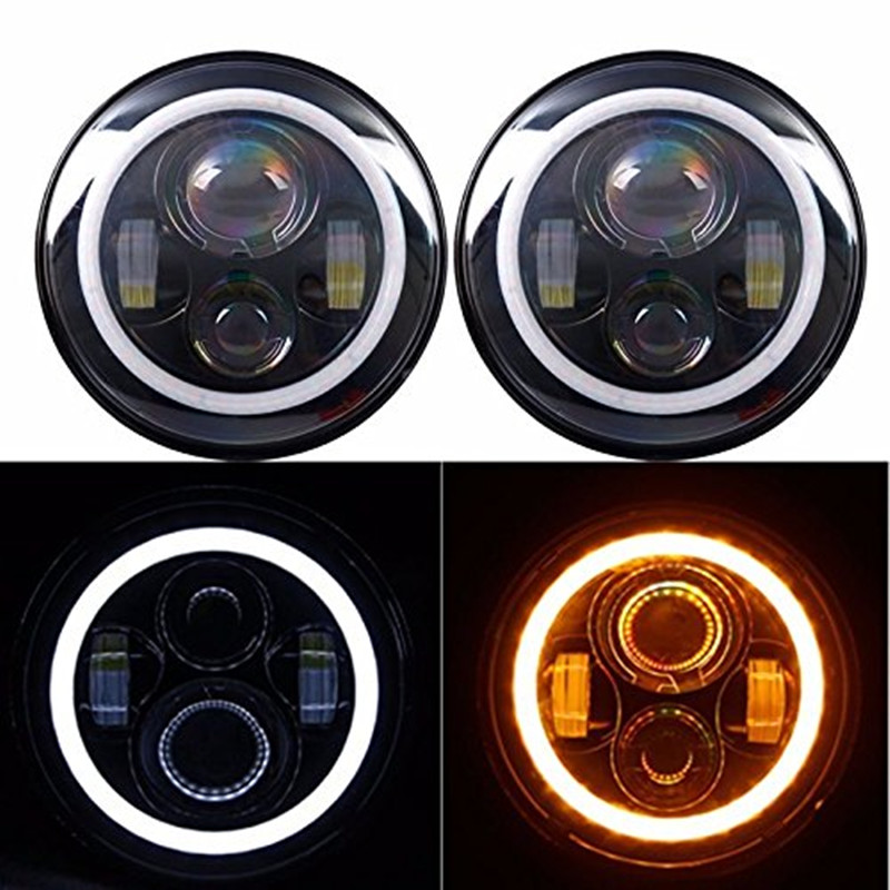 40W 7INCH LED Headlights with High/Low Beam White/Amber signal light for 97-15 Jeep Wrangler JK CJ Harley Davidson 7inch led motorcycle headlights 7 round 40w high low beam with angel eyes for 97 2015 jeeps wrangler jk