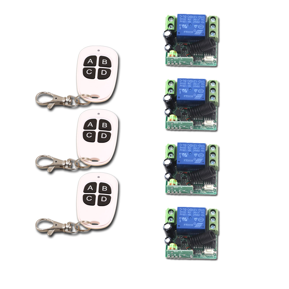 New RF Wireless DC12V Remote Control Switch 1CH 10A 4pcs Receiver & 3pcs Transmitter Light Switch Relay Smart House Best Quality sunny fashion girls dress princess worsted winter christmas hat lace red 2018 summer wedding party dresses clothes size 4 10