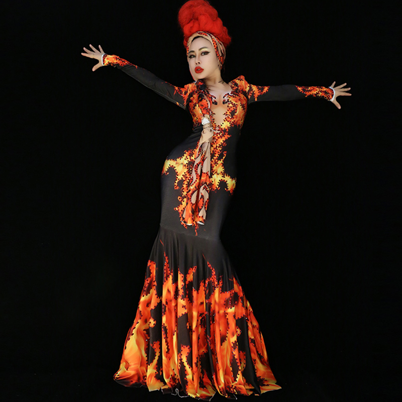 Jazz Costume Fashion Printed Long Sleeve Luxury Dresses Rhinestone Slim Dress Stage Clothes Night Party Bar Dj Singer Wear DT722