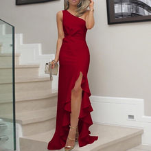 7121ca103a39 (Ship from US) Womens One Shoulder Dress Ruched Ruffle Formal Dress Slit  Solid Color Maxi dresses woman party night bandage dresses Dropship