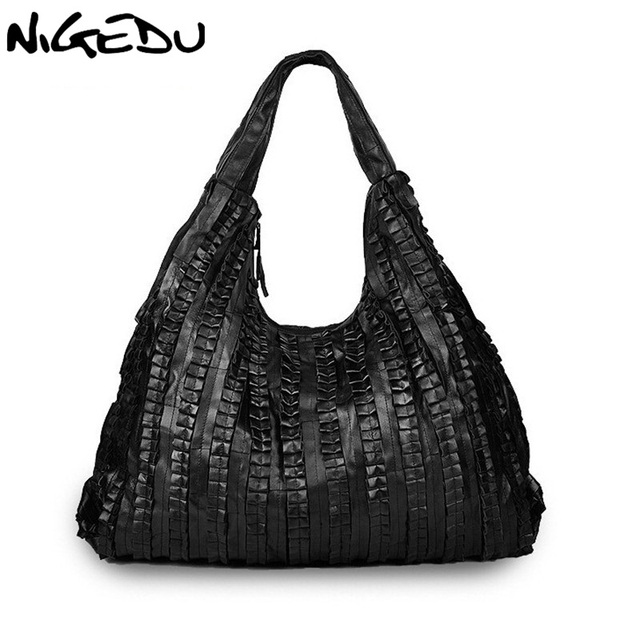 50b901f769 Sheepskin splicing Women s Shoulder bag large ladies handbag Genuine  leather Hobos bag black Women Handbags Totes messenger bags