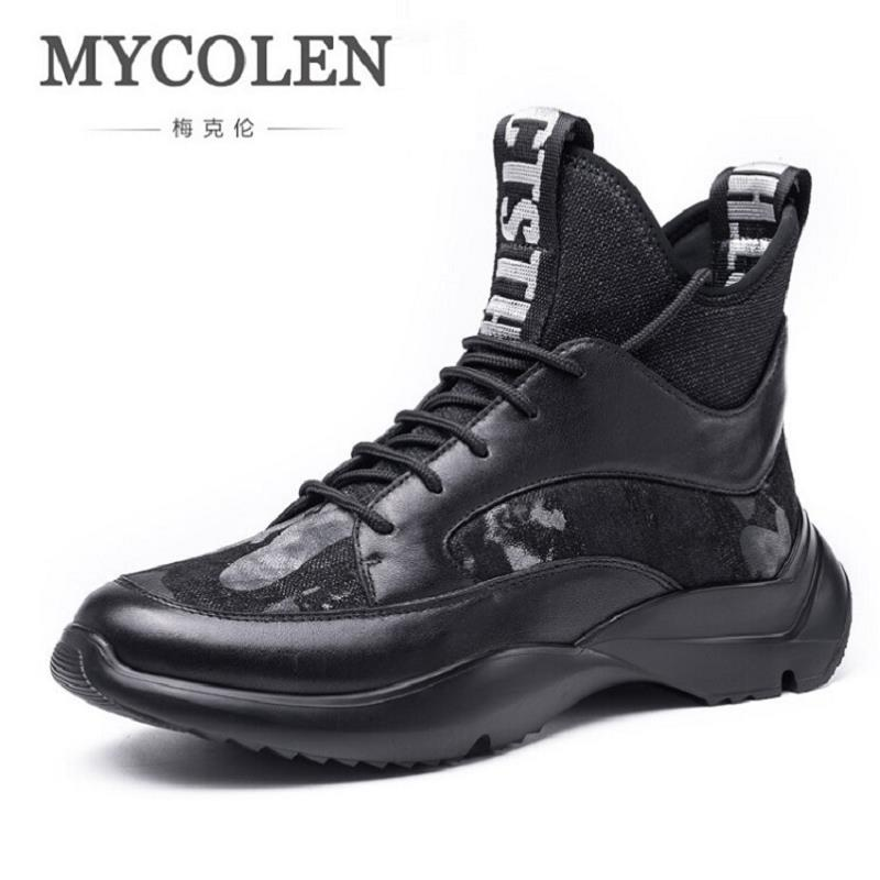 MYCOLEN Brand New Fashion Winter Men Leather Casual Shoes Walking Sneakers Shoes Wear Male Shoes zapatillas hombre deportiva casual dancing sneakers hip hop shoes high top casual shoes men patent leather flat shoes zapatillas deportivas hombre 61
