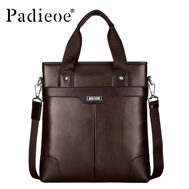 Padieoe Luxury Genuine Cow Leather Men Briefcase Deluxe Business Cause Tote Fashion Men Shoulder Bag Leather