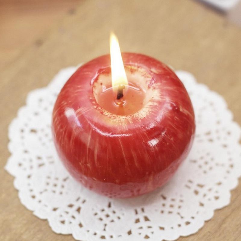 1pc red apple shape fruit fruit scented candle wedding for Apple fruit decoration