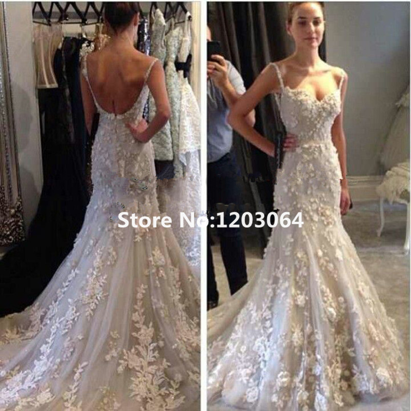 new 2016 spaghetti straps lace court train backless open back petailine applique designer wedding dresses bridal