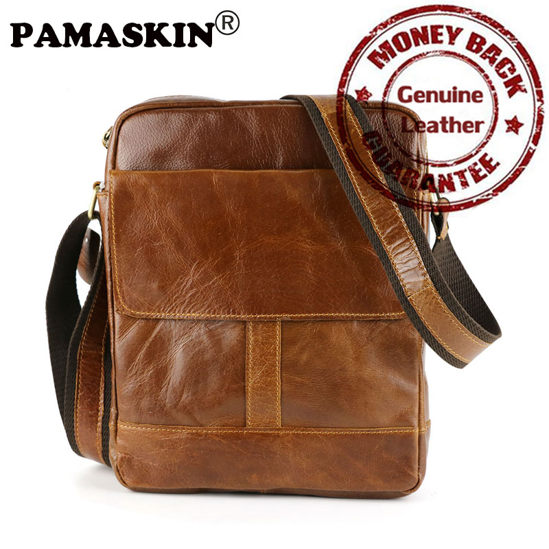 PAMASKIN New 100% Real Leather Vertical Men's Cross-body Bag 2018 The First Layer Cow Leather Simple Leisure Messenger Bags qiaobao 2018 new korean version of the first layer of women s leather packet messenger bag female shoulder diagonal cross bag