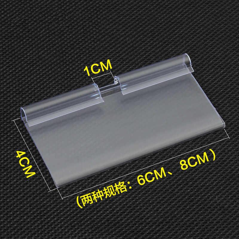 10 sztuk 60*40mm/80*40mm przezroczysty PVC plastikowy metka z ceną znak etykiety patera pogrubienie na regał sklepowy wieszak lub Supermarket