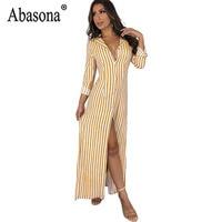 753b84501a Abasona Stripe Office Lady Long Dresses Women Button Split Shirt Dress Long  Sleeve Turn Down Collar