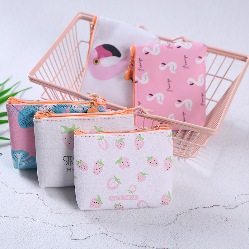New Popular Women Mini Wallet PU Leather Coin Purse Flamingo Strawberry Pattern Zip Bag child girls boys Portable Handbag