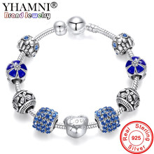 Big 95% OFF! Original 925 Solid Silver Charms Bracelet For Women Fashion Crystal Flower Beads Bracelets Fine Jewelry Gift SLR052(China)