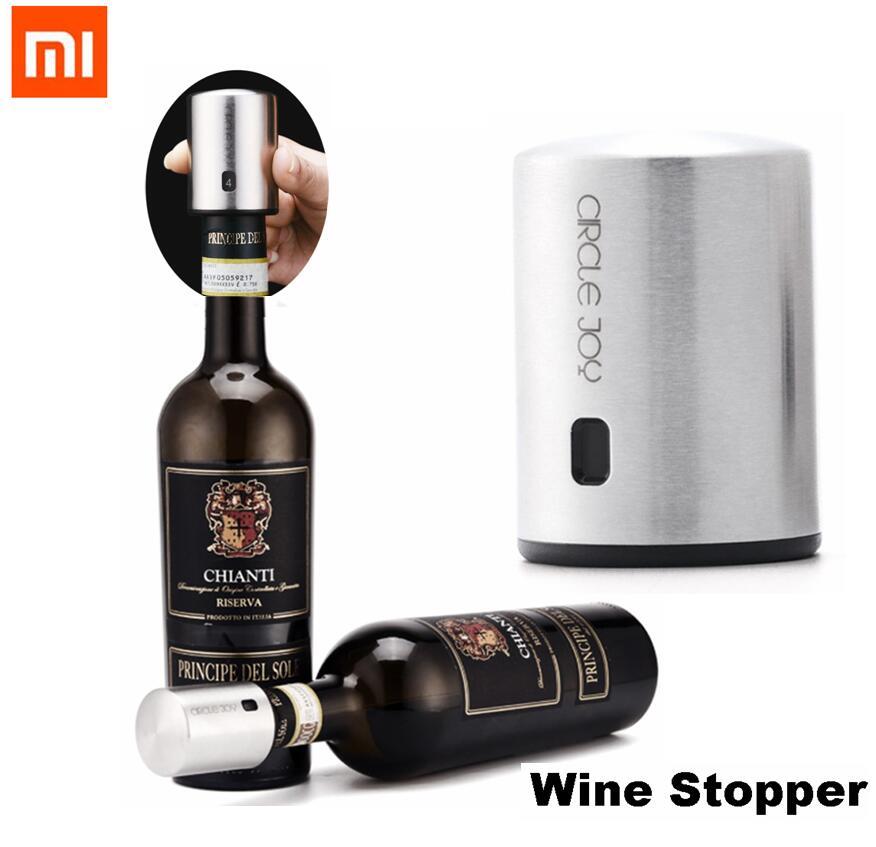 Xiaomi Wein Stopper Kreis Freude Runde Edelstahl Rotwein Mini Stecker Vakuum Effiziente Erhaltung Speicher Integration geschenk
