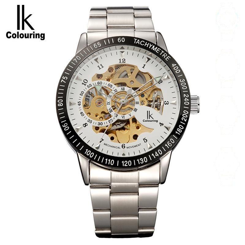 ФОТО IK Coloring Fashion Relogio Masculino Men's Hollow Out Auto Mechanical Wristwatch with Original Box Free Ship