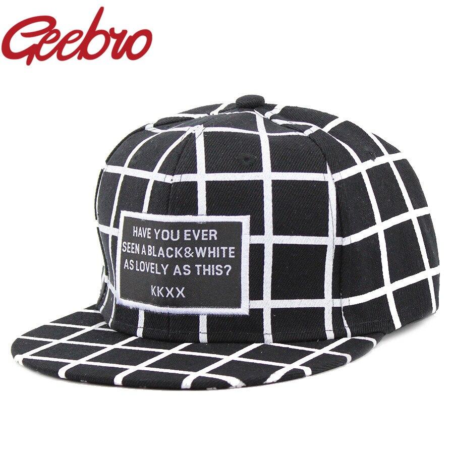 2017 Fashion KKXX Black White Plaid Casual Baseball Caps Hip Hop Skate Cap  Bone Aba Snapback 85ea001641ea