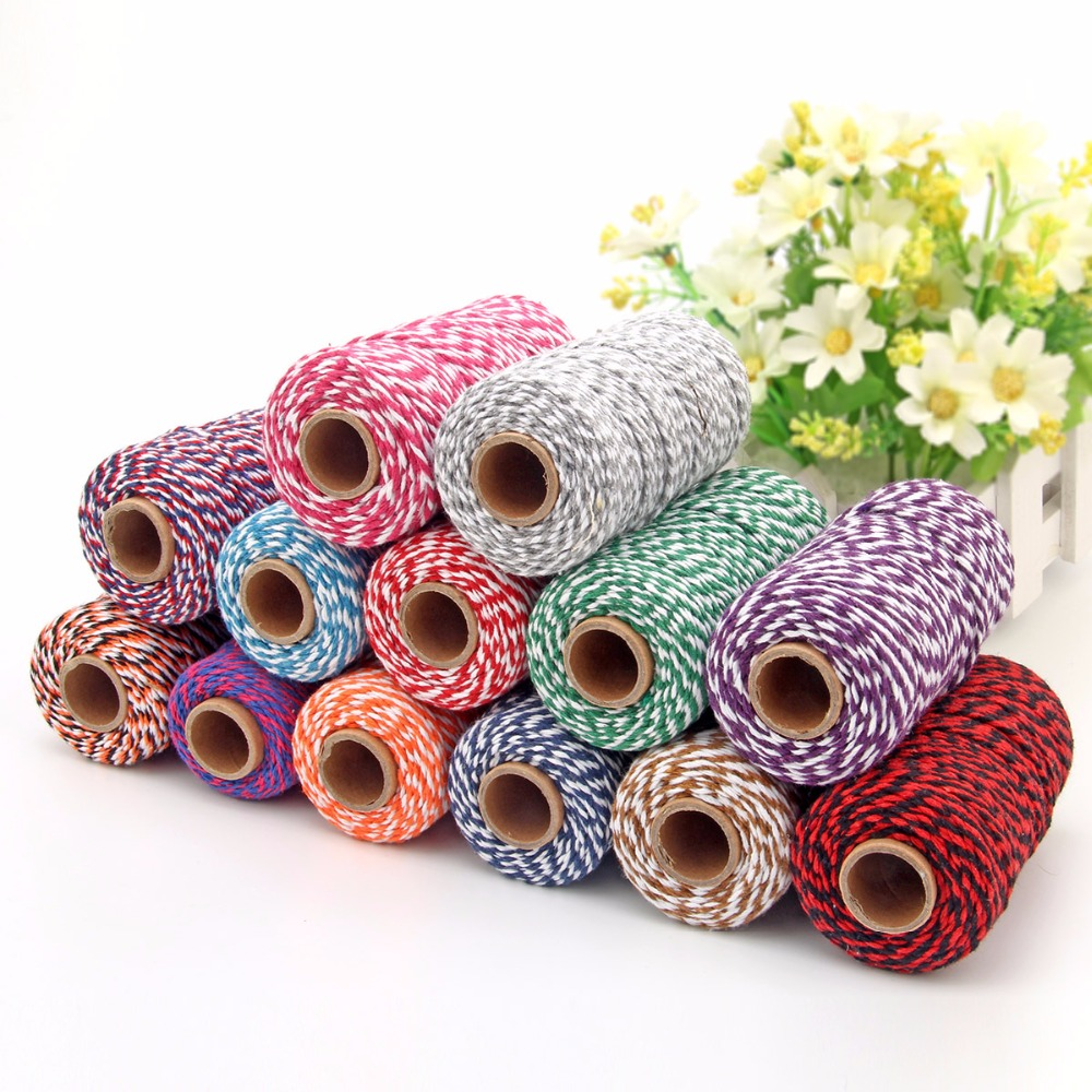 Wool yarn 100m/volume 2mm double-color cotton rope Two-tone twine thread decoration braided 2 color QW016
