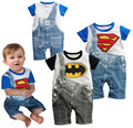 Baby romper cartoon Superman Batman baby jumpsuit short sleeve newborn summer Fake strap cowboy baby clothes overalls rompers