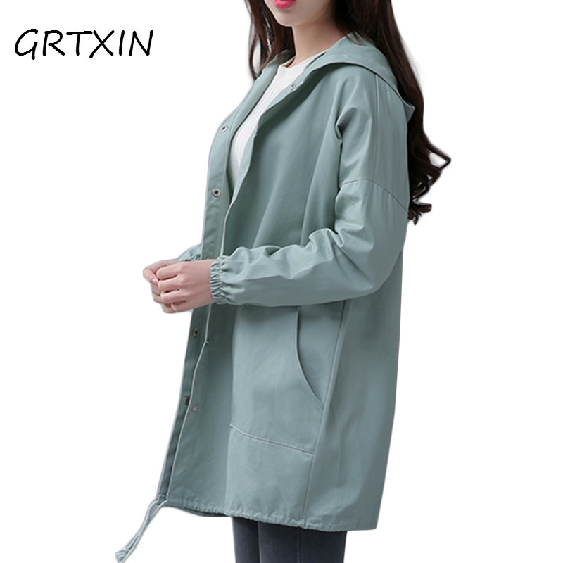 Spring  New Women Jacket Drawstring Hem Long Sleeves Hooded Coat Spring Lightweight Windbreaker Jaqueta Feminina