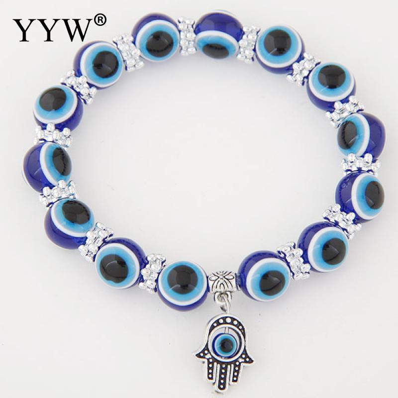 Fashion Jewelry Antique Silver Color Hamsa Bracelets Colorful Resin Evil Eye Beaded Strand Islamic Jewelry Wristband Bracelets