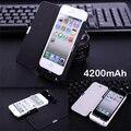 Luxo 4200 mAh banco power pack com tampa Carregador Portátil de Backup Externo Caixa de bateria Para o iphone 5 5S se com linha de cabo usb