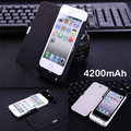 Luxury 4200mAh External power pack with cover bank Portable Charger Backup Battery Case For iphone 5 5s se with usb cable line