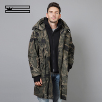 SHUANGGUN 2018 90% White duck down hooded men down jacket men's winter thick warm down jacket men windbreaker coats camouflage
