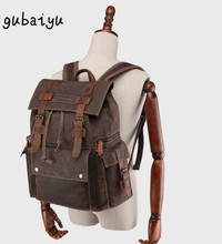 купить Luxury Vintage Canvas Backpacks Men Oil Wax Canvas Male Retro Travel Backpacks Genuine leather Large Waterproof Laptop Daypack в интернет-магазине
