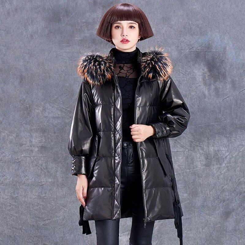 Veste Parkas Mouton Mode Fourrure Laveur Haute Qualité Vestes Manteaux Raton Collier Tempérament Vers En À De Le Bas Capuchon Black D'hiver Femmes Peau N590 Cuir HWED2Y9Ie
