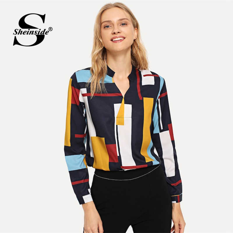 09bfd011d7 Sheinside Fashion V Neck Geometric Print Colorblock shirt Women 2019 Spring  Casual Blouses OL Lady Workwear