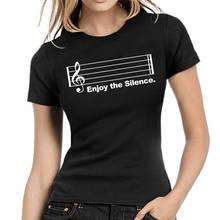 Funny Cotton T Shirt Gift O-Neck Short-Sleeve  Enjoy The Silence Shirts For Women