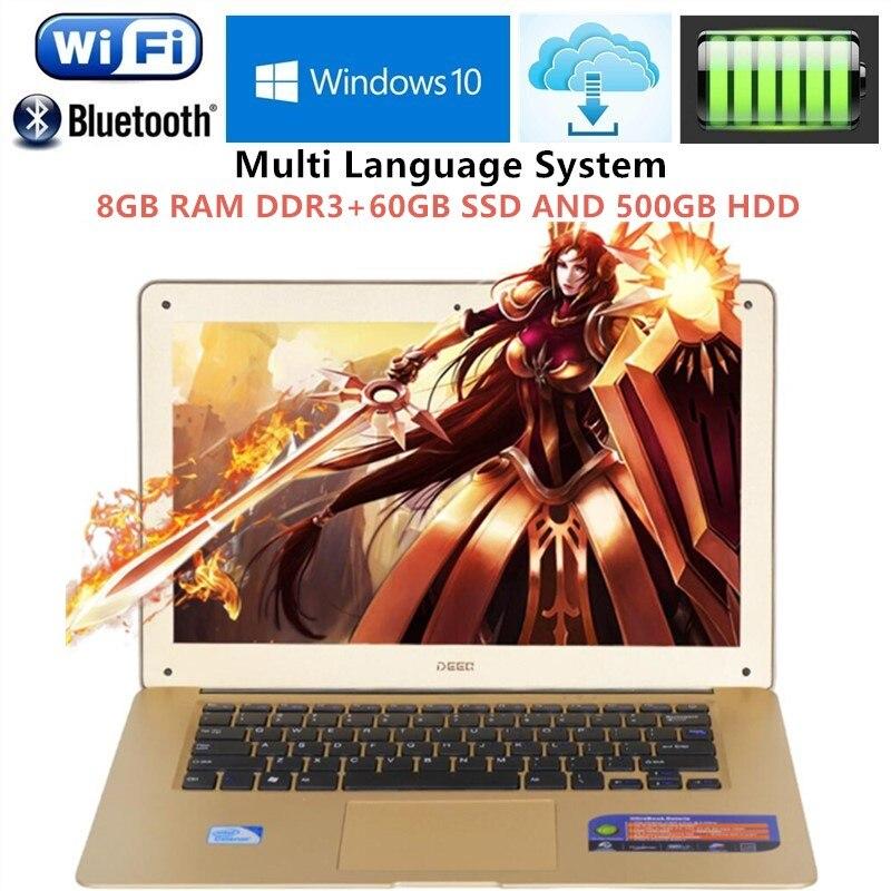 1920x1080 p FHD Schermo 8 gb di RAM + 60 gb SSD DA 500 gb HDD Ultrabook Computer Portatile di Intel pentium N3520 Diade Core 2.16 ghz USB 3.0 Porta per la VENDITA