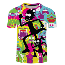 2018 New 3D Anime Tshirts Ricky And Morty Funny Cartoon Print Summer Shortsleeve Cool Tees Tops