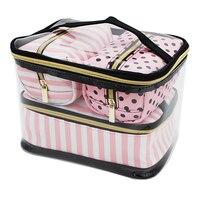 4 قطع pvc شفافة التجميل حقيبة المرأة الوردي حقائب السفر للماء غسل المنظم الحقيبة ماكياج التجميل حالة واضحة اكسسوارات