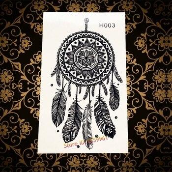 Seksowna czarna mandala henna tymczasowy tatuaż łapacz snów wzory fałszywe wodoodporne naklejki z tatuażami DreamCatcher Tatoo kobiety pióro