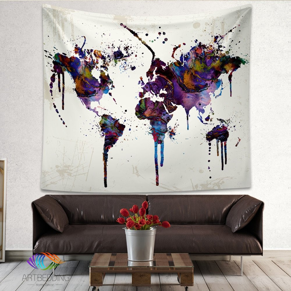 Nabstract world map tapestry wall hanging sandy beach picnic throw abstract world map tapestry wall hanging sandy beach picnic throw rug blanket camping tent travel sleeping pad free delivery gumiabroncs Gallery