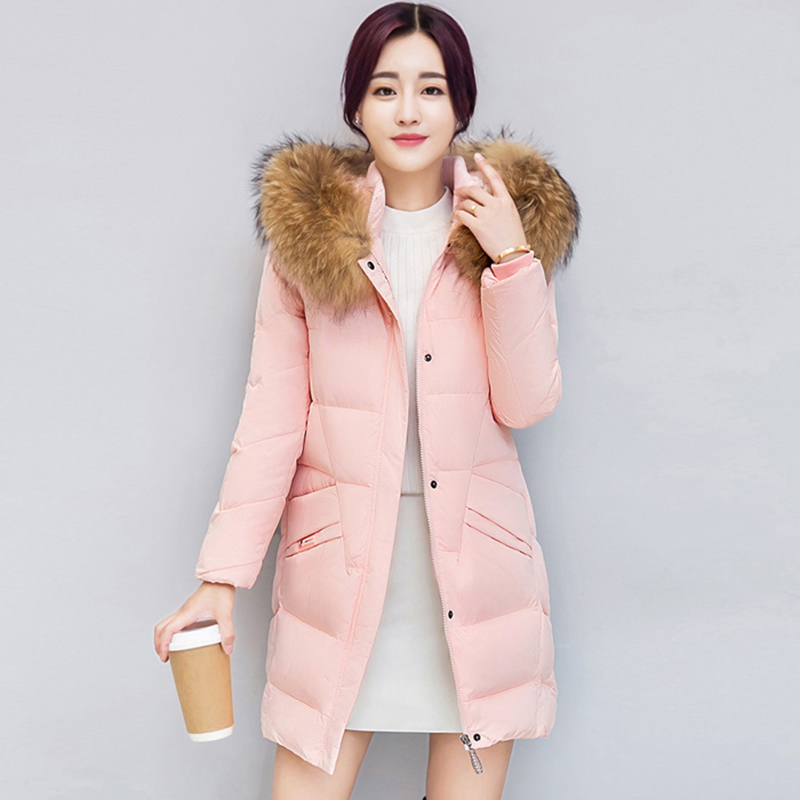 2017 Winter   Down     Coats   Women Parkas Long warm White Duck   Down   Jacket High Quality Big Fur Collar Army Green   Coat   Female QH0872