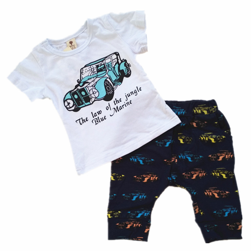 BBWOWLIN baby boy sets Comfortable white cotton cartoon t shirt and bloomers 130