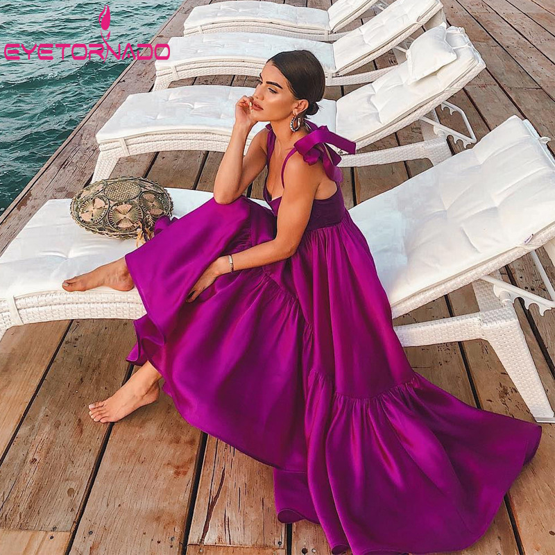 Robe longue d'été femmes noeud sangle Sexy irrégulière plage Boho robes violet Slim élégant tunique fête robe d'été