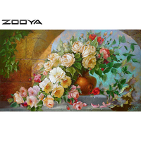 Diy Diamond Painting Cross Stitch Crystal Square Diamond Sets Unfinished Decorative Diamond Embroidery Balcony Floral Vase