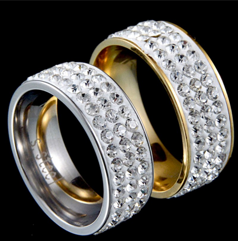 luxury wedding rings for women 3 rows stainless steel crystal cz stone ring for women gift