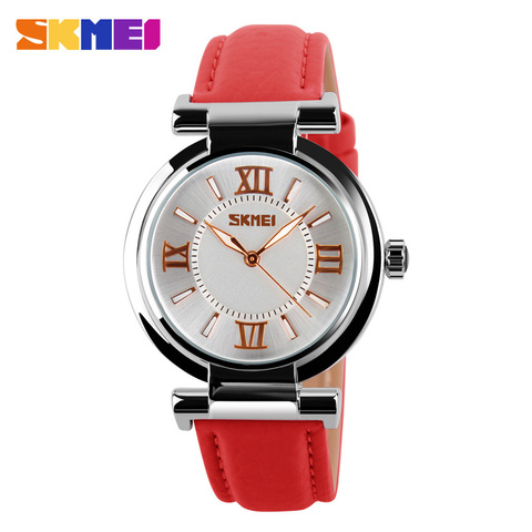 SKMEI Brand Women Fashion Luxury Dress Watches 30M Waterproof Leather Strap Quartz Watch Student Wristwatches Ladies Hours 9075 Lahore