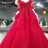 LS00395 evening gowns 2017 vestido fiesta mujer elegante largo luxury beautiful generous lace flowers red prom dress abiye