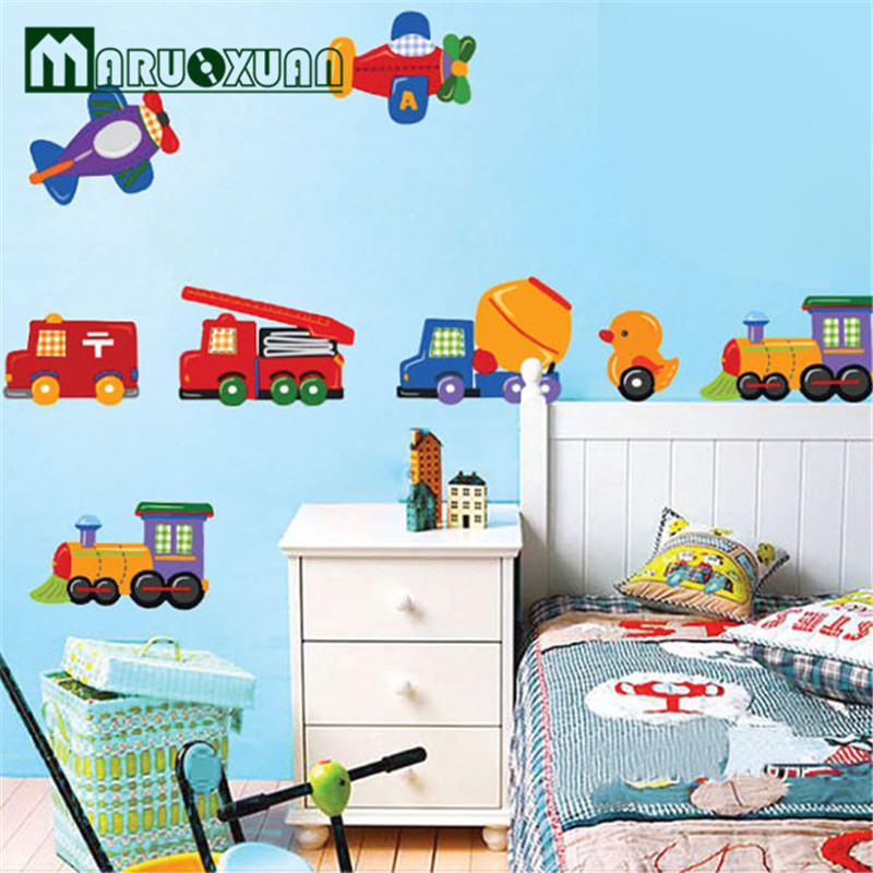 New Cartoon Cute Cartoon Cars Traffic Wall Sticker Baby Boys Room Decorative  Automobile Stickers Poster For