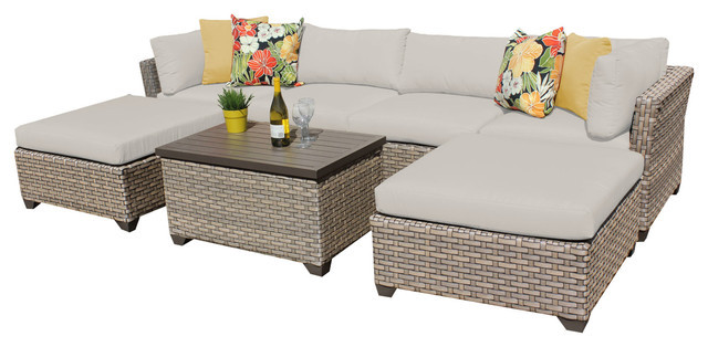 2017 All Weather Outdoor Rattan 7 Piece Outdoor Wicker Patio Furniture Sofa