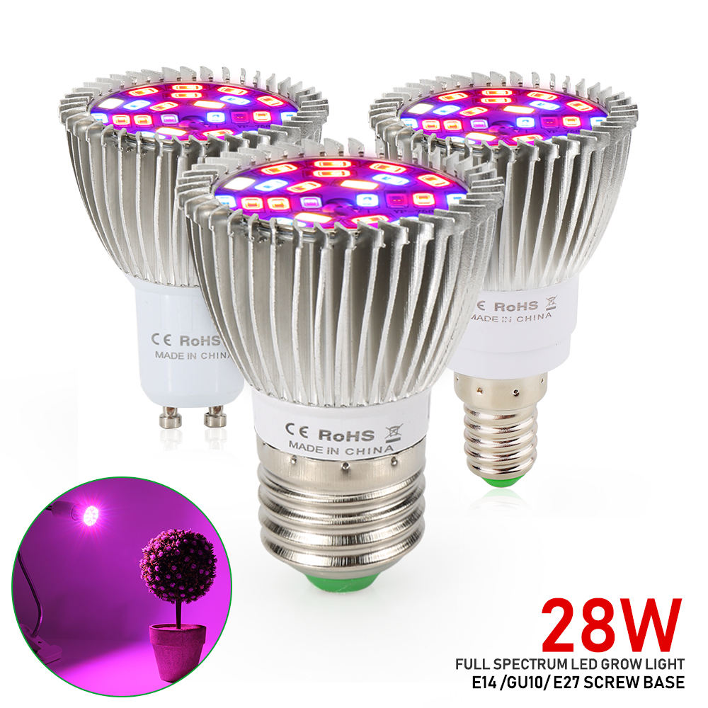 Cheapest 18W 28W LED Grow Light Full Spectrum E27 E14 GU10 Mini LED Indoor Growing Lamp For Plants Vegetables Hydroponics Seeds