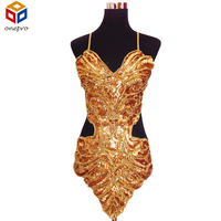 Studio Art Photography Stage Sexy Lace Sequins Butterfly Bellyband Hollowed Halter Dress Strap Backless Latin Dance